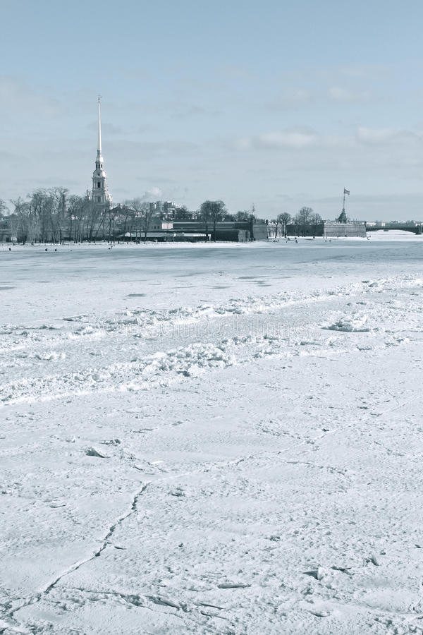 The Neva and Peter and Paul Fortress stock images