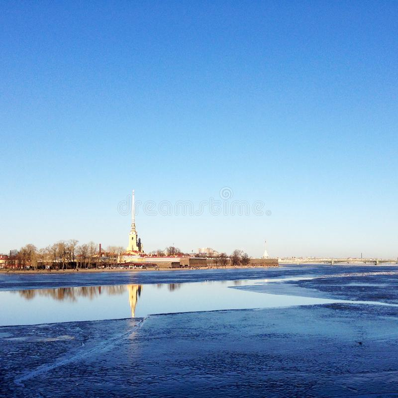 Neva and Peter and Paul Fortress stock photos