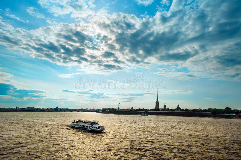 Neva river on the sunset, St Petersburg royalty free stock photo