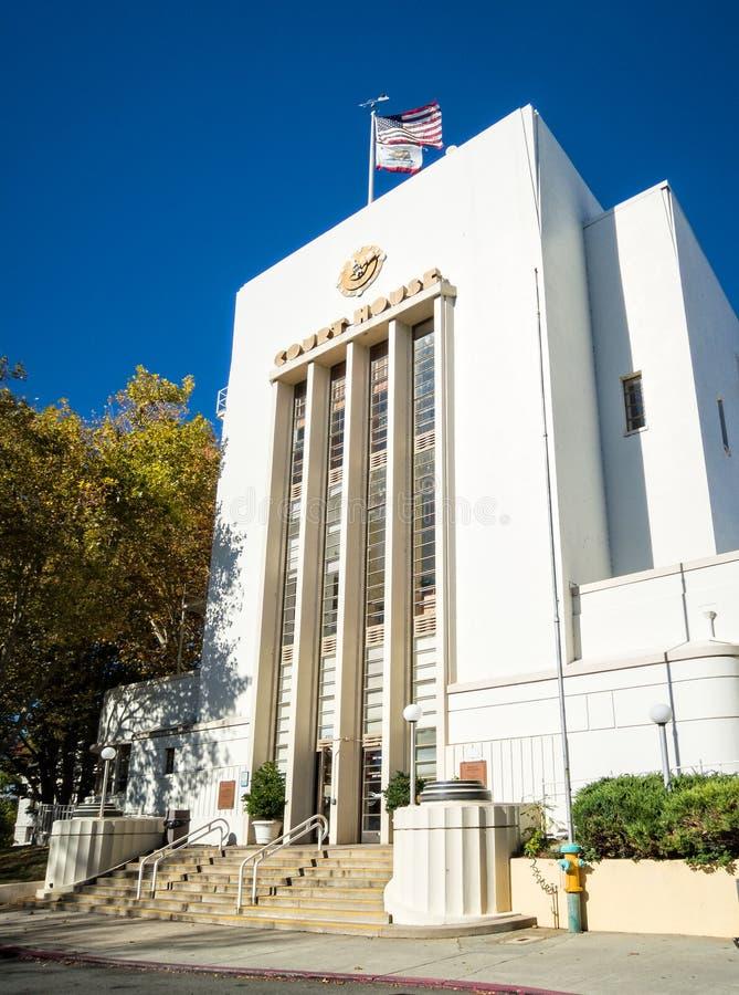 Nevada City Kalifornien historisk domstolsbyggnad royaltyfri fotografi
