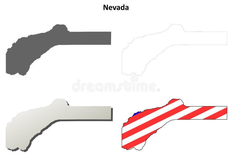Nevada County, grupo do mapa do esboço de Califórnia ilustração do vetor