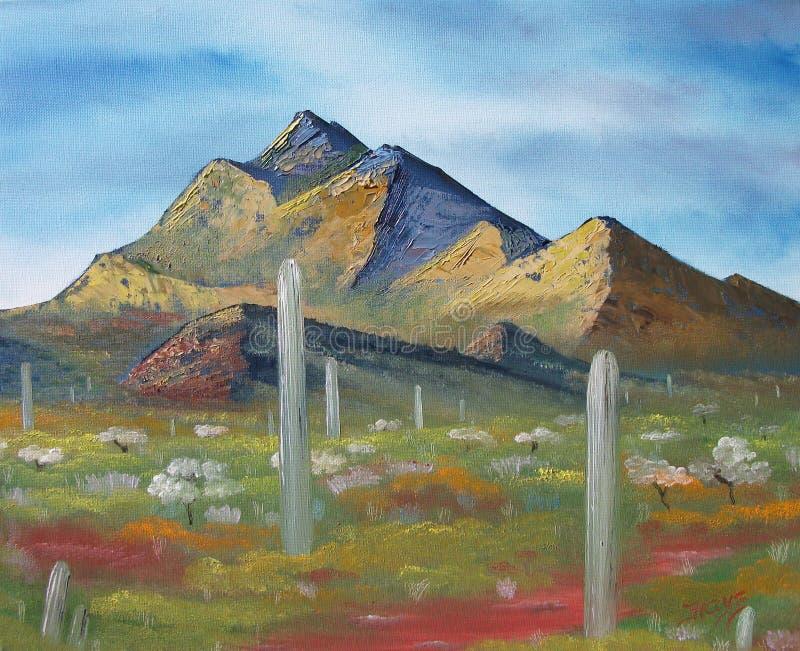 Nevada Desert Mountain mit Kaktus stockbilder