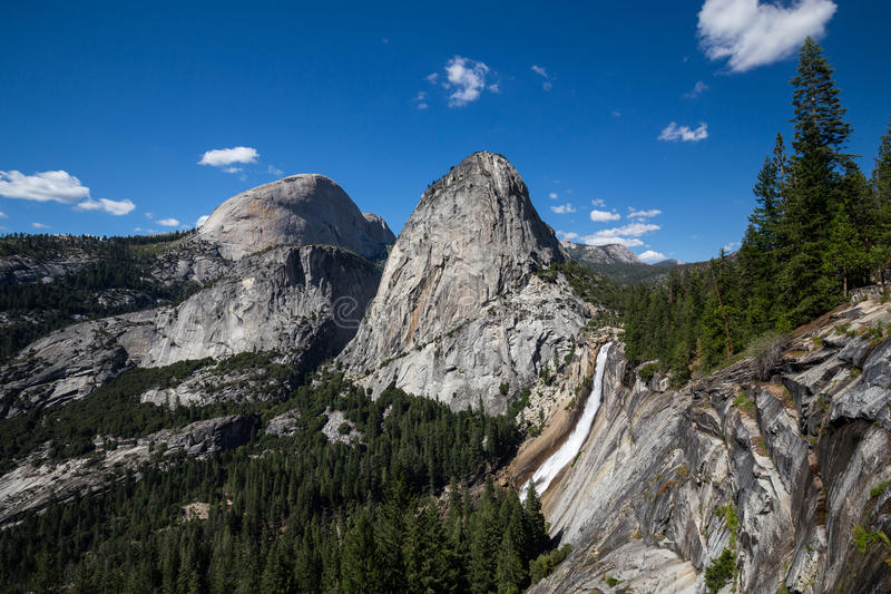 Nevada Fall and Liberty Cap in Yosemite National Park, California, USA. Situated in California, USA royalty free stock photo