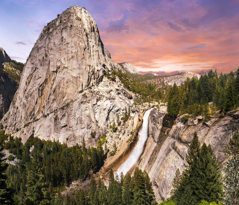 Nevada Falls and Liberty Dome at sunset royalty free stock photos