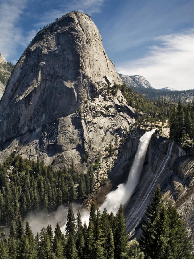 Nevada Falls and Libery Cap Yosemite National Park royalty free stock image