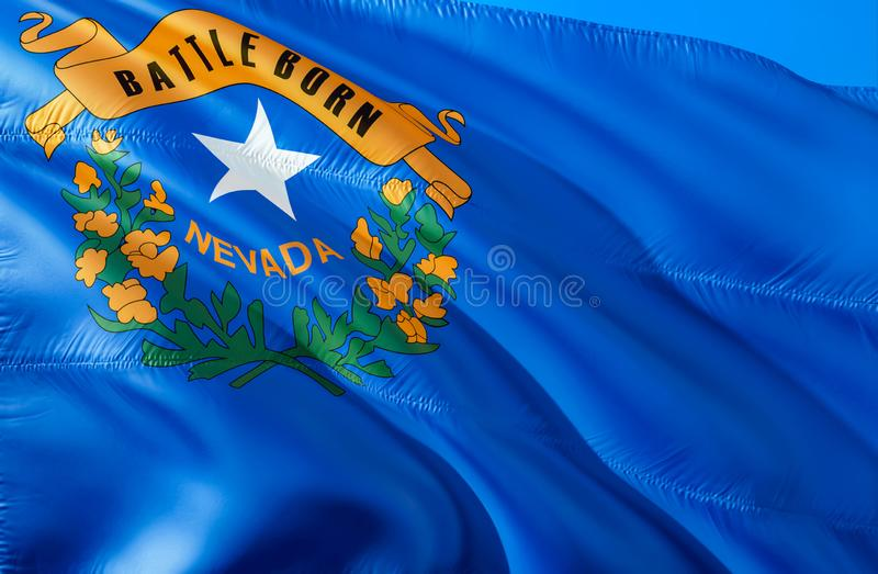 Nevada flag. 3D Waving USA state flag design. The national US symbol of Nevada state, 3D rendering. National colors and National royalty free stock photo