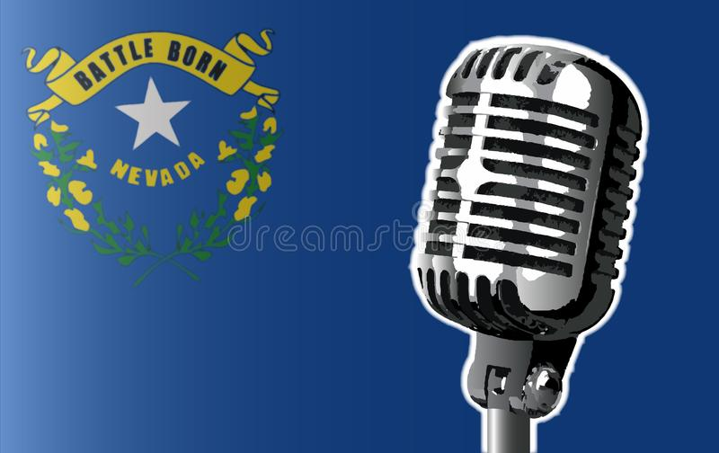 Nevada Flag And Microphone vector illustratie