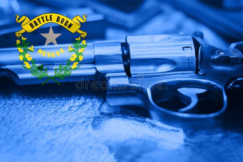 Nevada-Flagge U S Zustand Reglementierung von Waffenbesitz USA Vereinigte Staaten schießen Gesetze lizenzfreies stockbild