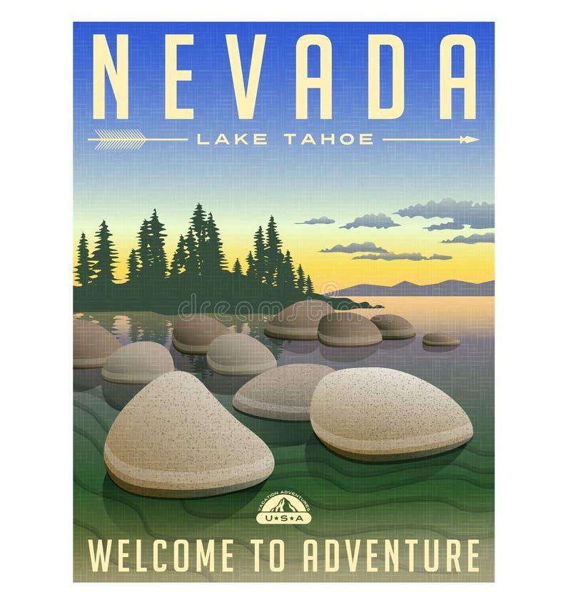 Nevada, Jeziorny Tahoe podróży retro plakat ilustracji