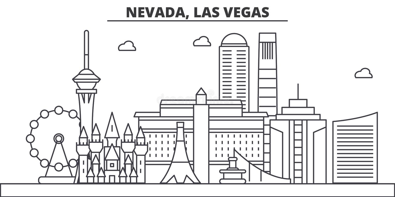 Nevada, Las Vegas architecture line skyline illustration. Linear vector cityscape with famous landmarks, city sights royalty free illustration
