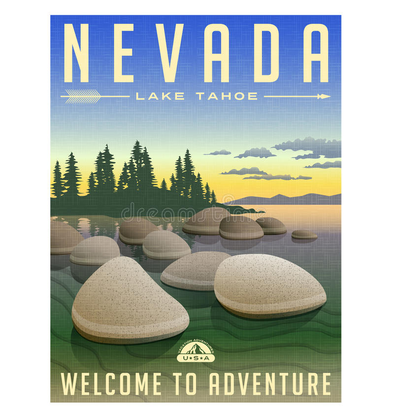 Nevada, retro de reisaffiche van Meertahoe stock illustratie