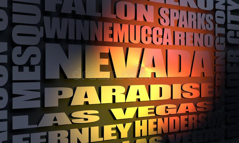 Nevada state cities list stock illustration