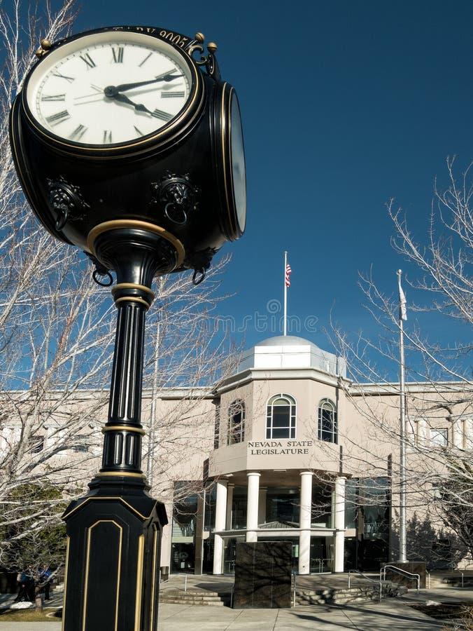 Nevada State Legislature Building, Carson City. Nevada State Legislature building and sidewalk clock, Carson City, Nevada royalty free stock photography