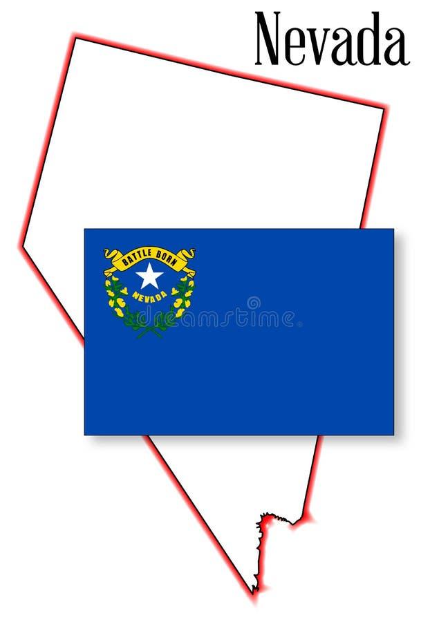 Nevada State Map e bandiera royalty illustrazione gratis