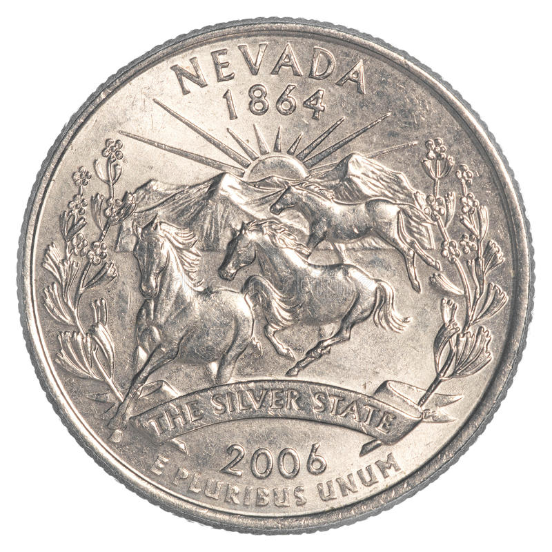 Nevada State Quarter coin. Isolated on white background royalty free stock image
