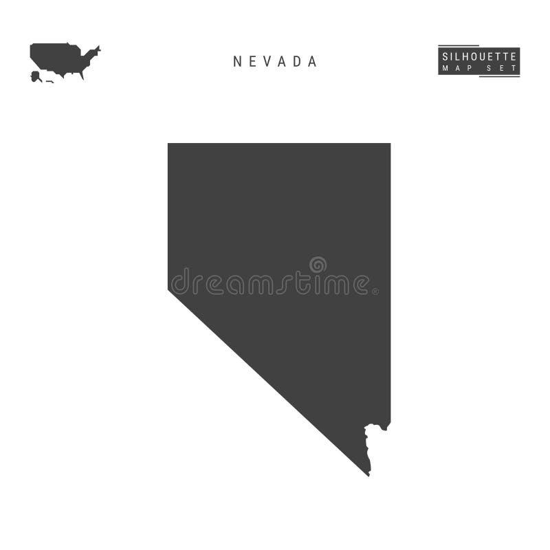 Nevada USA påstår vektoröversikten som isoleras på vit bakgrund Hög-specificerad svart konturöversikt av Nevada stock illustrationer