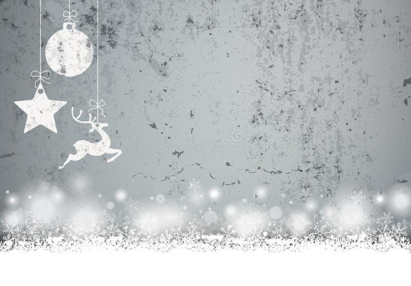 Nevadas concretas de la chuchería del caribú de la estrella de la tarjeta de Navidad stock de ilustración