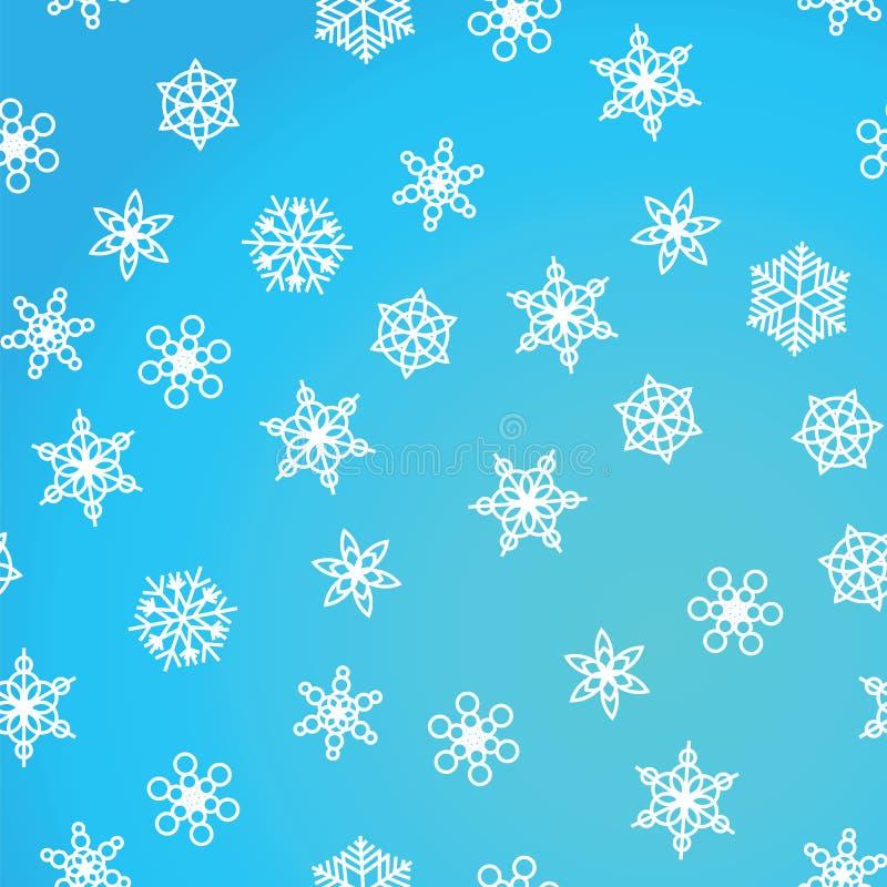 Nevadas del modelo del invierno y copos de nieve blancos en fondo azul Modelo con las nevadas, ventisca del Año Nuevo y de la Nav stock de ilustración