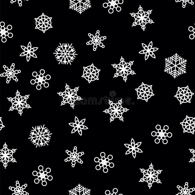 Nevadas del modelo del invierno y copos de nieve blancos en fondo negro Modelo con las nevadas, ventisca del Año Nuevo y de la Na ilustración del vector
