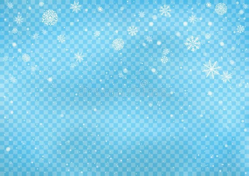 Nevadas en fondo transparente azul ilustración del vector