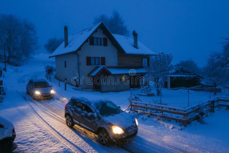 Nevadas fortes em Annecy França imagens de stock royalty free