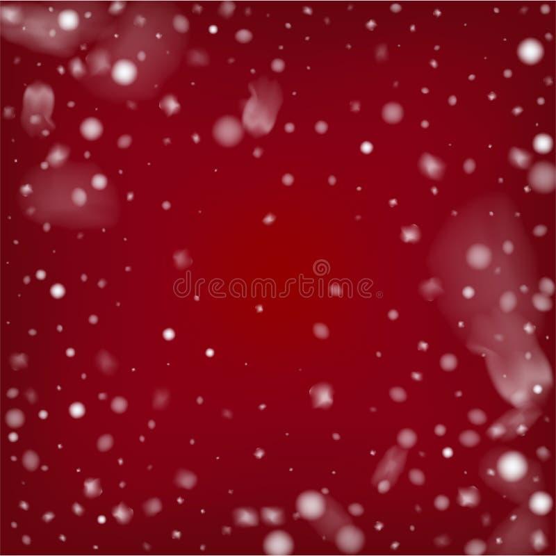 Nevadas realistas azules del vector La Navidad, fondo de los días de fiesta del Grunge del Año Nuevo Las nevadas realistas modela stock de ilustración