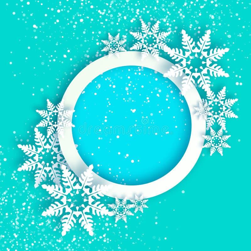 nevadas Tarjeta de felicitaciones de la Feliz Año Nuevo de la papiroflexia Feliz Navidad Escama de la nieve del corte del Libro B ilustración del vector