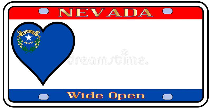 Nevada License Plate. Nevadastate license plate in the colors of the state flag with the flag icons over a white background stock illustration