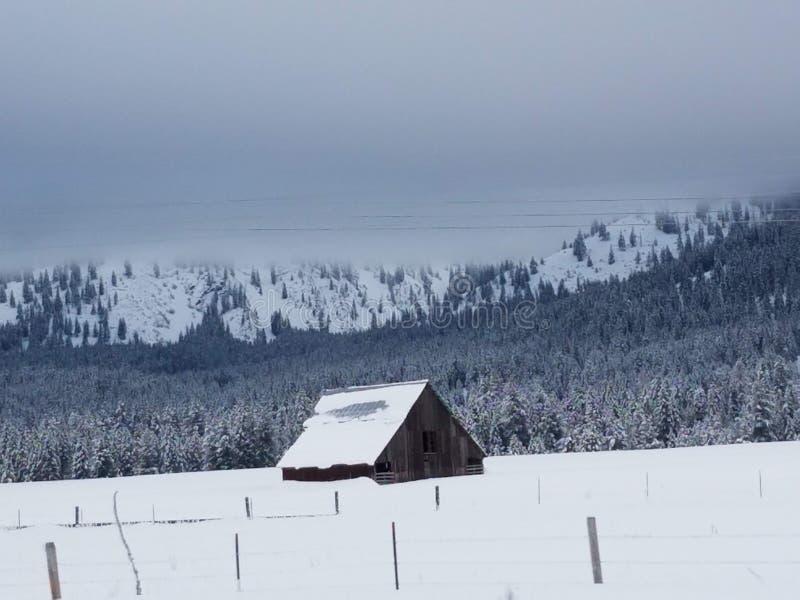 Nevado Montana Barn imagen de archivo