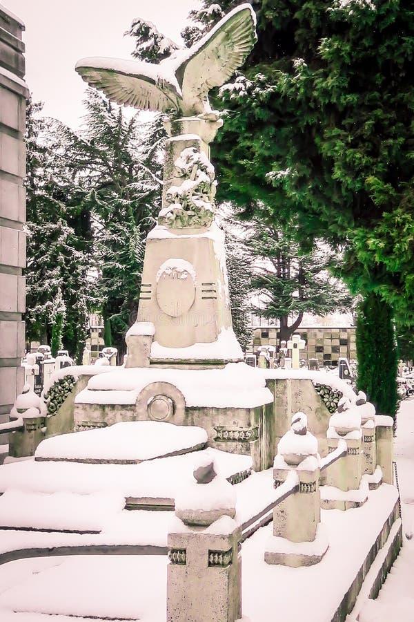 Nevar no St Jose do cemitério Burgos imagens de stock royalty free
