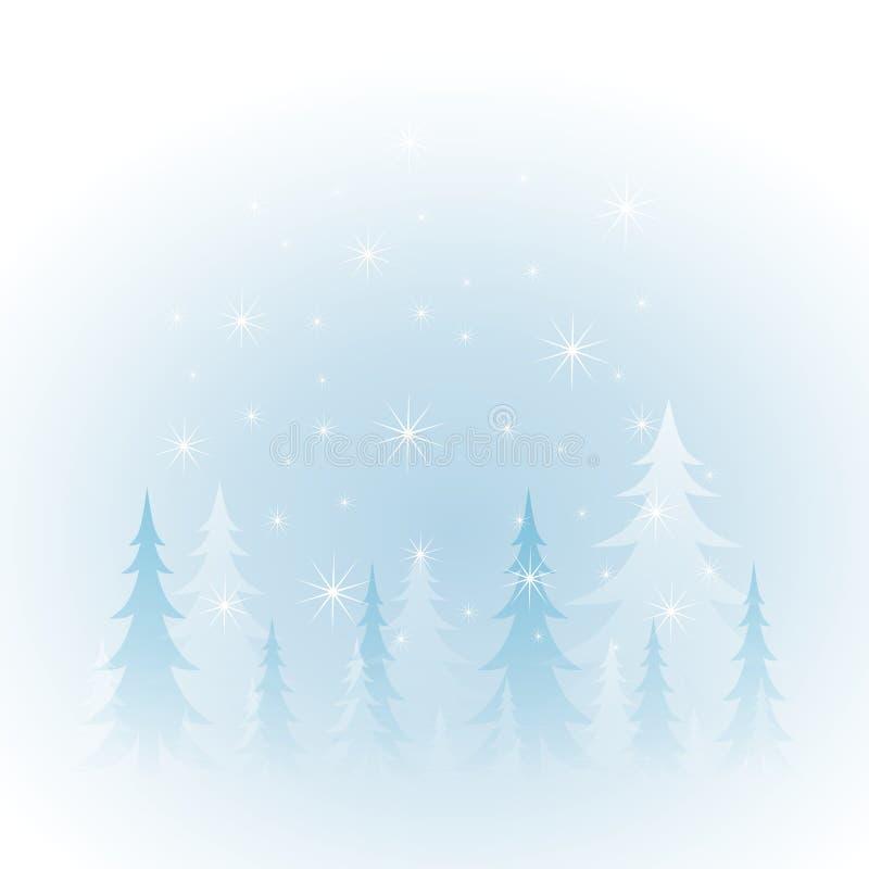 Neve bianca degli alberi di inverno royalty illustrazione gratis