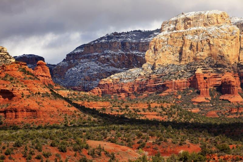 Neve Bianca Rossa Sedona Arizona Del Canyon Della Roccia Di Boynton Immagini Stock Libere da Diritti