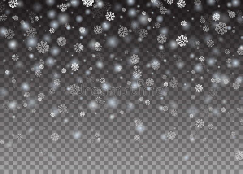 Neve brillante di caduta di Natale del fiocco di neve bella su fondo trasparente Fiocchi di neve, precipitazioni nevose Illustraz immagine stock libera da diritti