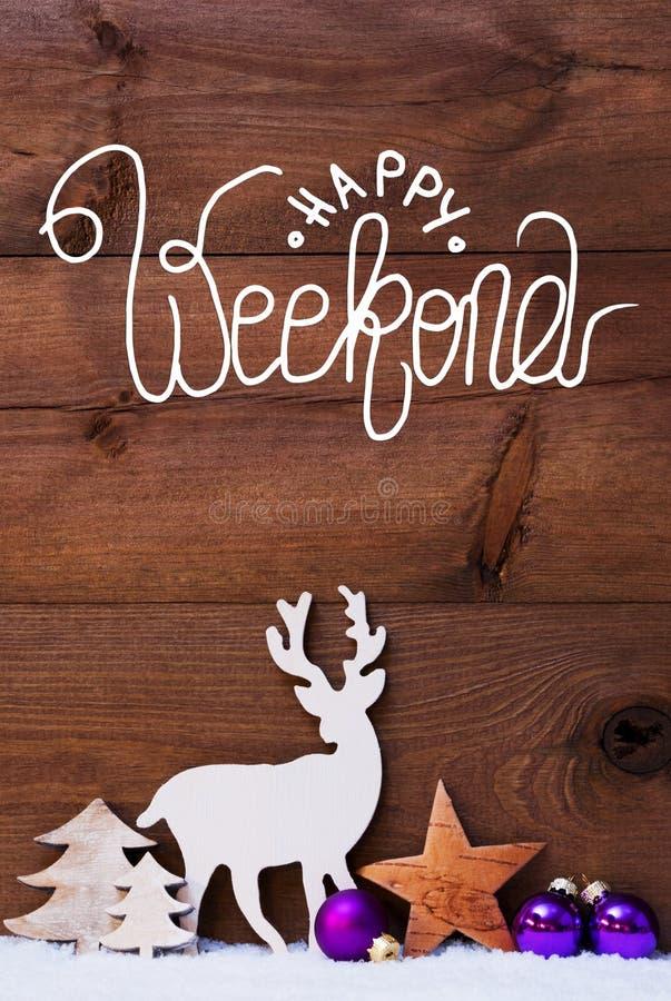 Neve, Cervo, Albero, Palla Di Pupla, Calligraphy Happy Weekend immagini stock