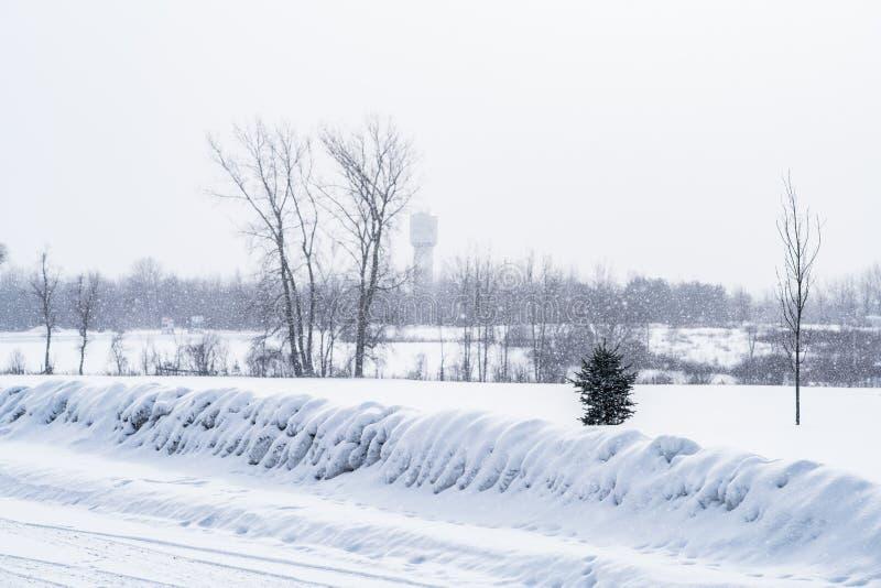 Neve che cade nella campagna fotografia stock libera da diritti