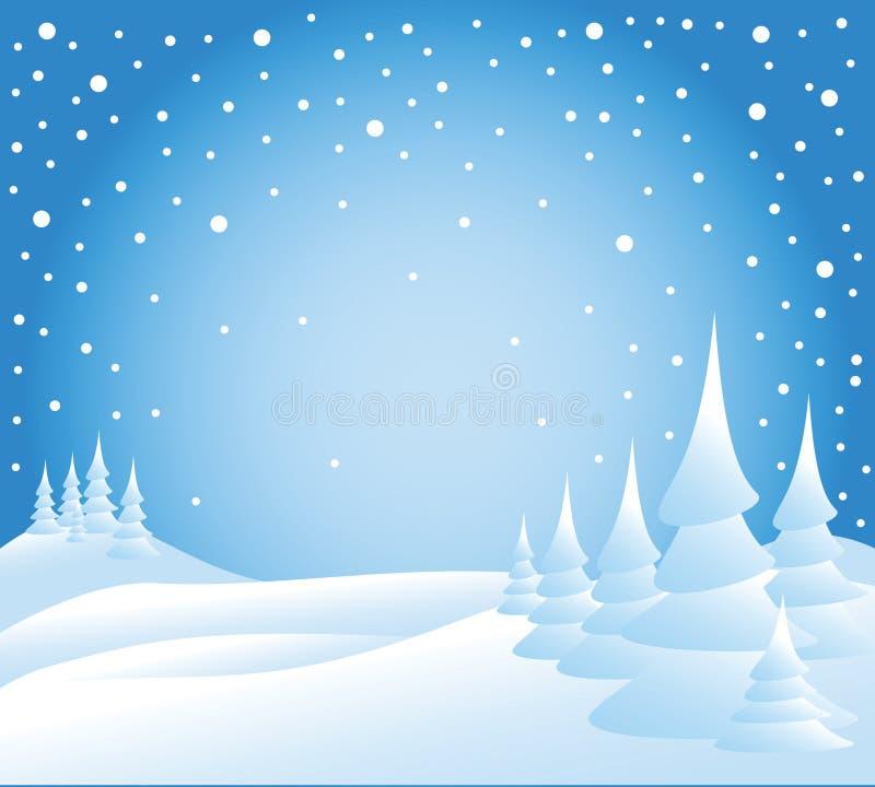 Neve che cade sugli alberi illustrazione vettoriale