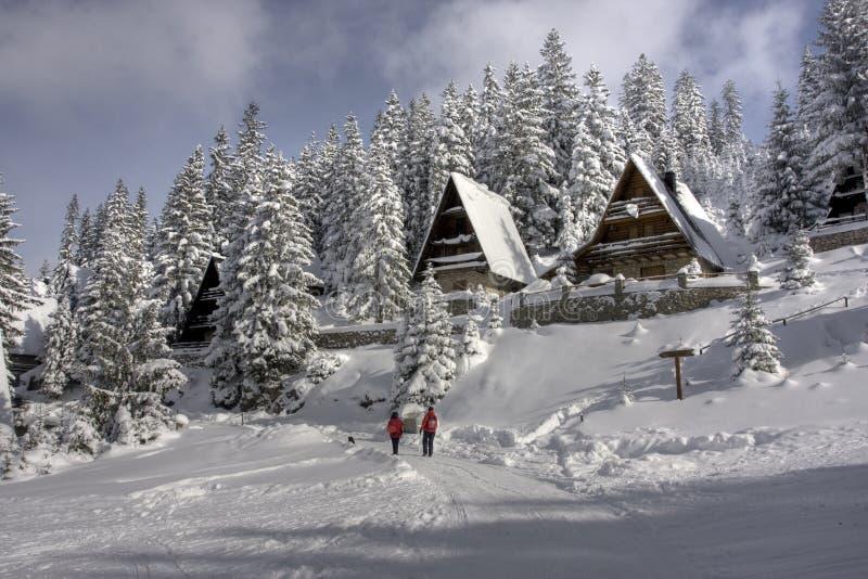 A neve cobriu o centro do esqui do inverno fotos de stock royalty free