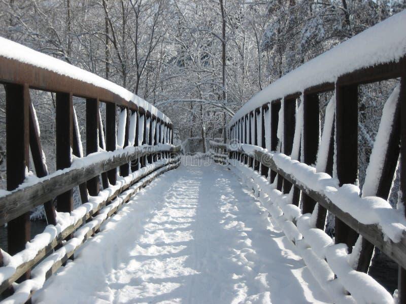 A neve cobriu o passadiço imagem de stock