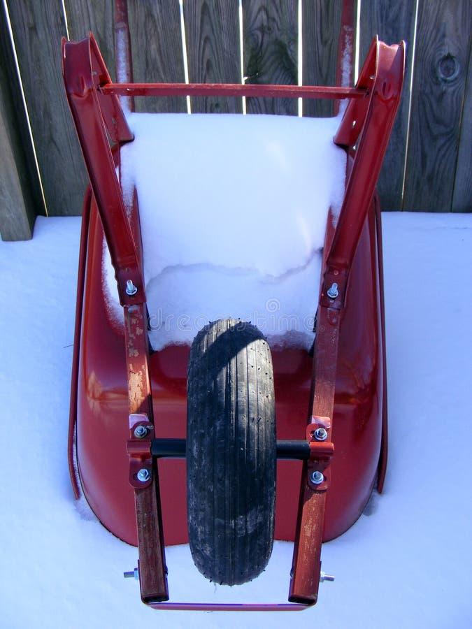 A neve cobriu o Wheelbarrow imagem de stock royalty free