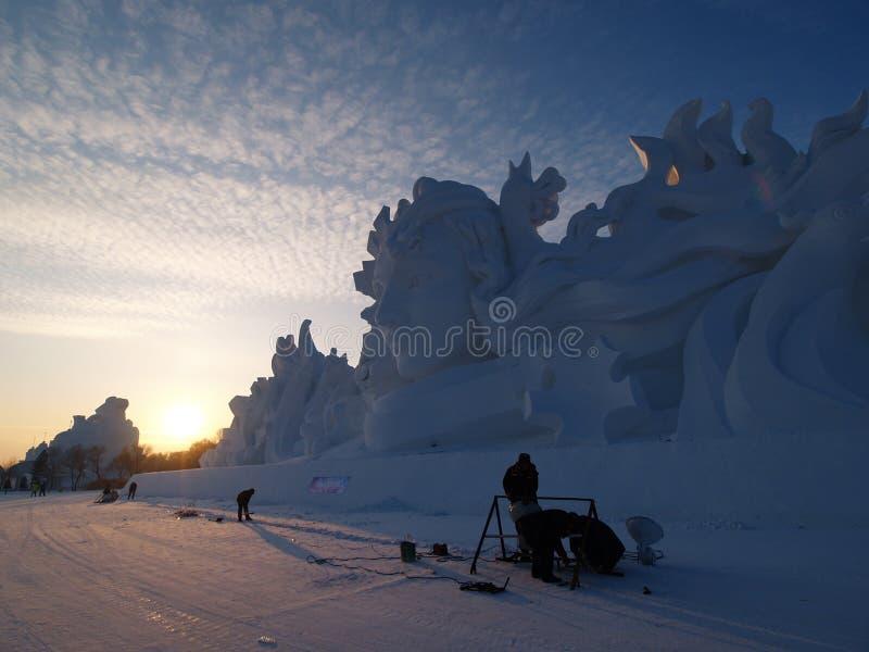 Neve da ilha de Sun do cenário de Harbin imagens de stock