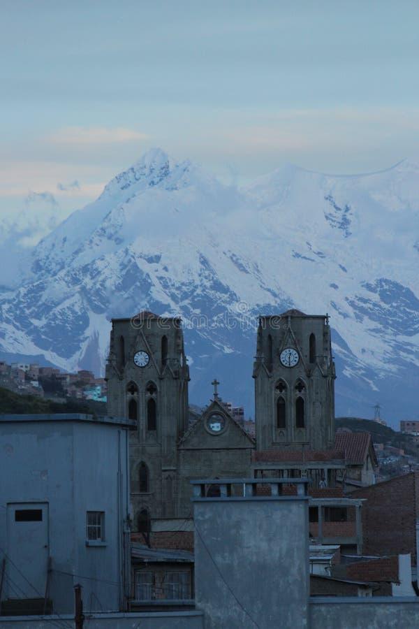 Neve de La Paz no crepúsculo foto de stock