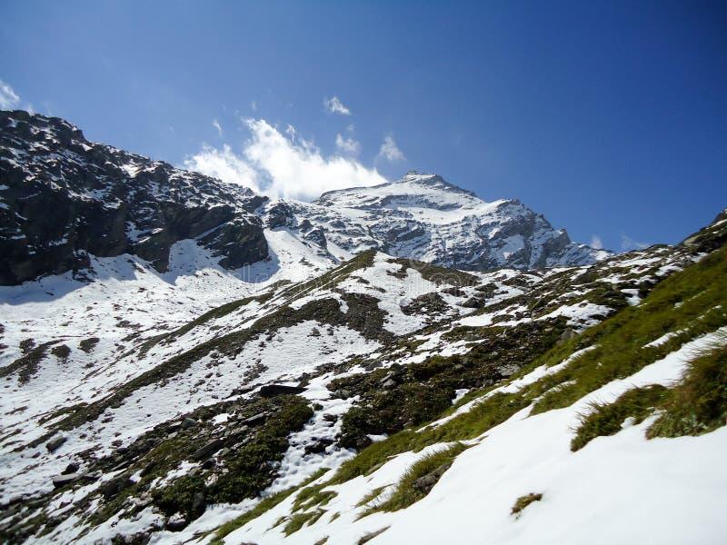 A neve de observação da mulher cobriu montanhas fotografia de stock