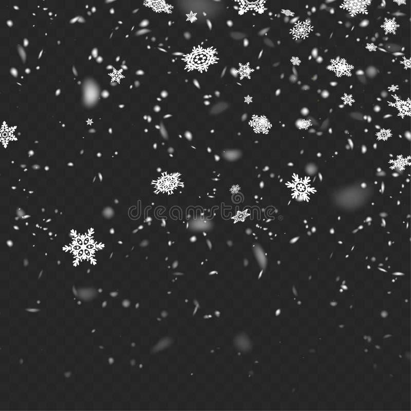 Neve de queda defocused realística da ilustração conservada em estoque do vetor Flocos de neve, queda de neve Fundo transparente  ilustração stock