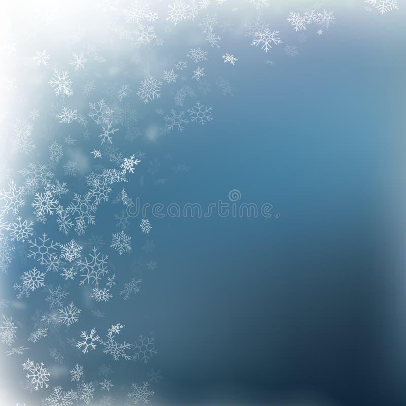Neve de queda em um fundo azul Floco de neve e fundo brancos abstratos dos sparkles Eps 10 ilustração royalty free