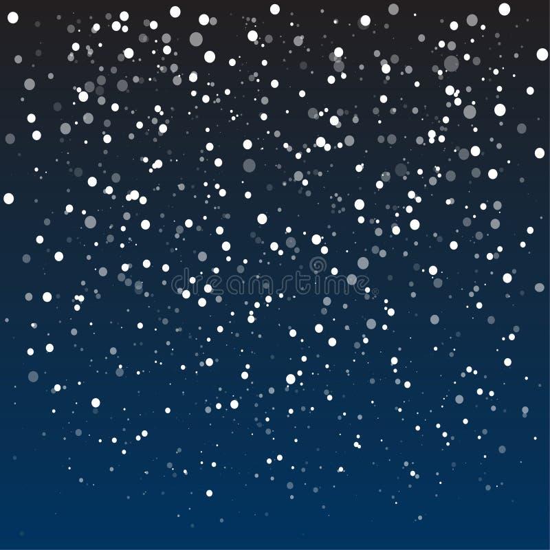 Neve de queda, floco de neve branco abstrato do brilho, fundo do Natal ilustração royalty free