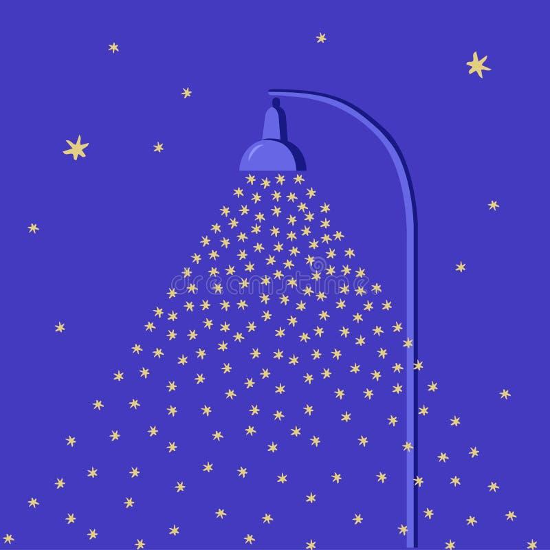 Neve de queda iluminada por uma lâmpada de rua Fundo liso do Natal do estilo dos desenhos animados Céu noturno com estrelas Molde ilustração stock