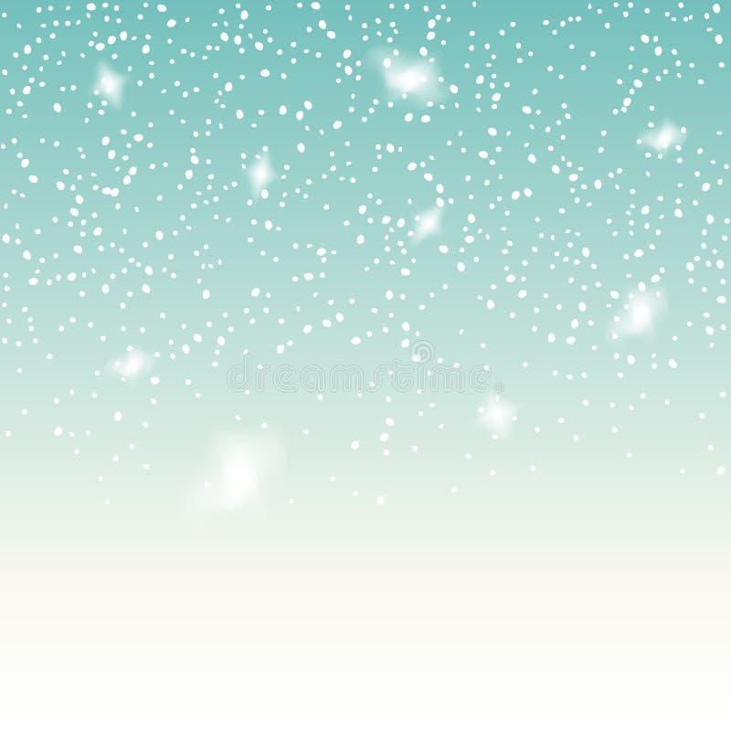 Neve de queda no fundo azul Contexto do vetor do floco de neve do Natal Decoração branca da neve isolada ilustração do vetor