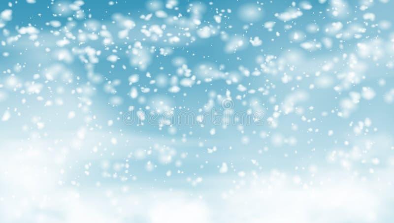 Neve de queda no fundo do feriado do céu azul ilustração royalty free