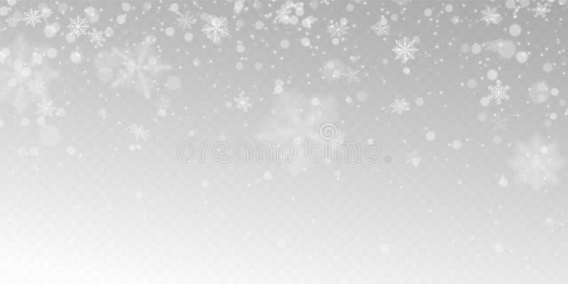 Neve de queda realística com flocos de neve brancos, efeito da luz ilustração royalty free