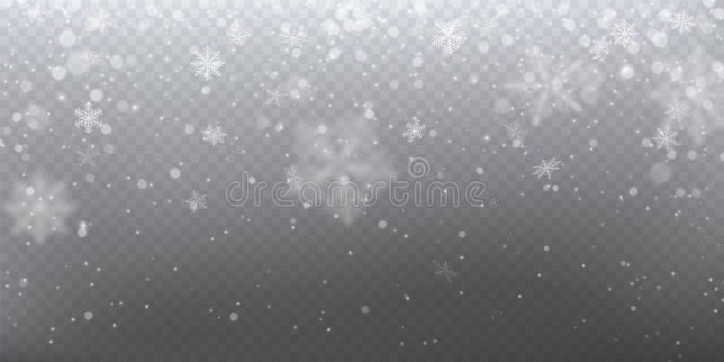 Neve de queda realística com flocos de neve brancos, efeito da luz ilustração stock
